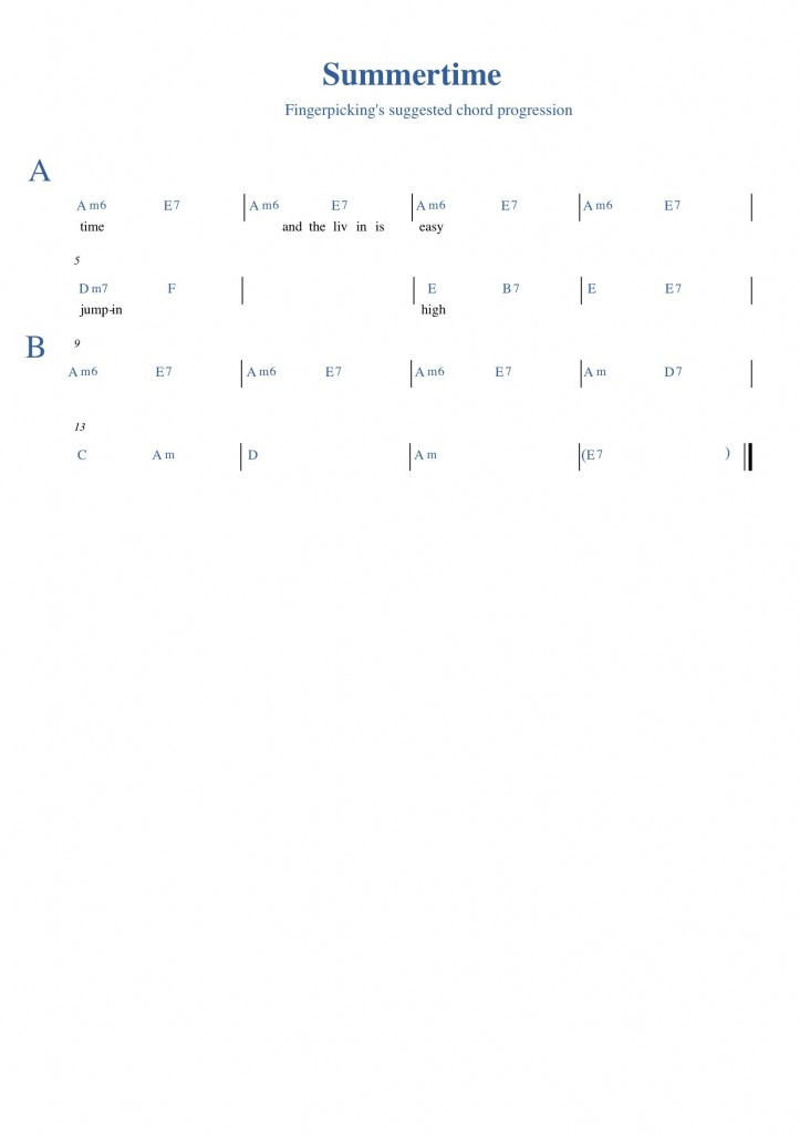 Image of chord progression for Summertime