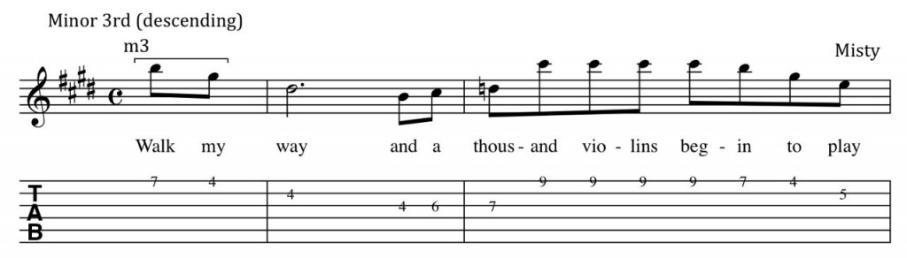 Image of notation exert from Misty