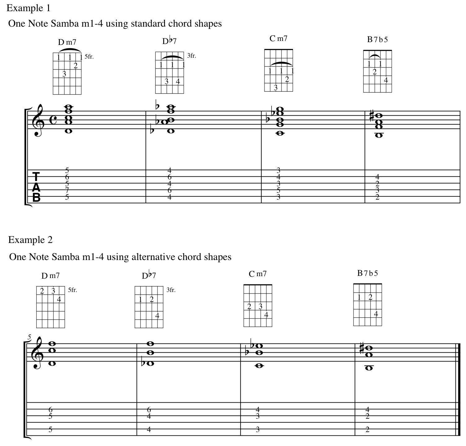 One Note Samba And Chord Shapes